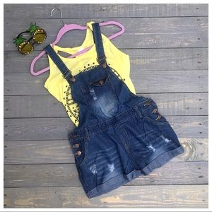 Pants - Adorable Relaxed Distressed Overall Shorts